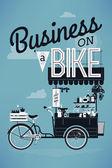 Business on bike, vintage — Stock Vector