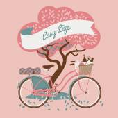 Easy life with tree and vintage bicycle — Stock Vector