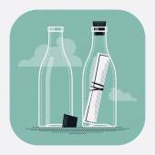 Message in bottle with empty — Stock Vector