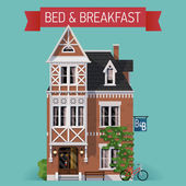 Bed and breakfast house — Stock Vector