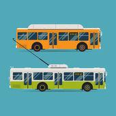 Trólebus e ônibus de distância — Vetor de Stock