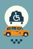 Taxi service with wheelchair access — Stock Vector