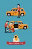 Taxi with wheelchair access — Stock Vector