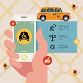 Taxi service with wheelchair access application. — Stock Vector