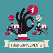 Food supplements effect for office work — Stock Vector