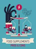 Food supplements pros and cons — Stock Vector