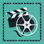 Klaket ve sinema film reel — Stok Vektör
