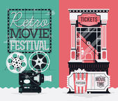 Retro movie cinema festival — Stock Vector