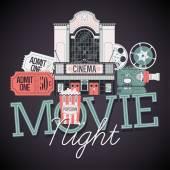 Movie Night event — Stock Vector