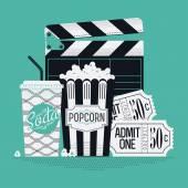 Clapboard, popcorn, cinema theater tickets — Stock Vector
