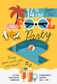 Design invitation on pool party — Stock Vector
