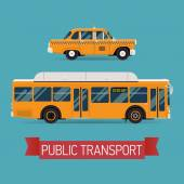 Public transport vehicle icons — Stock Vector