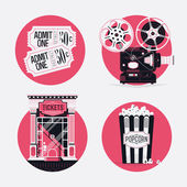 Motion picture film  icons — Stock Vector