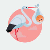 Stork holding smiling newborn baby — Stockvector