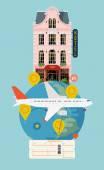 Hotel facade, planet globe, airplane — Stock Vector