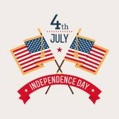 Fourth of July groet met vlaggen — Stockvector