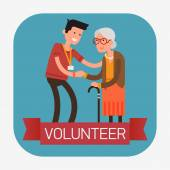 Man helping  old aged female. — Stock Vector