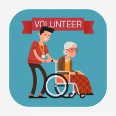 Man helping old aged female — Stock Vector