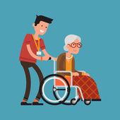 Volunteer man caring for elderly woman. — Stock Vector
