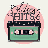Oldies hits with analogue audio cassette — Stock Vector