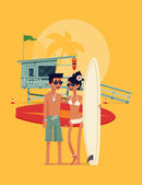 Young couple of surfers — Stock Vector
