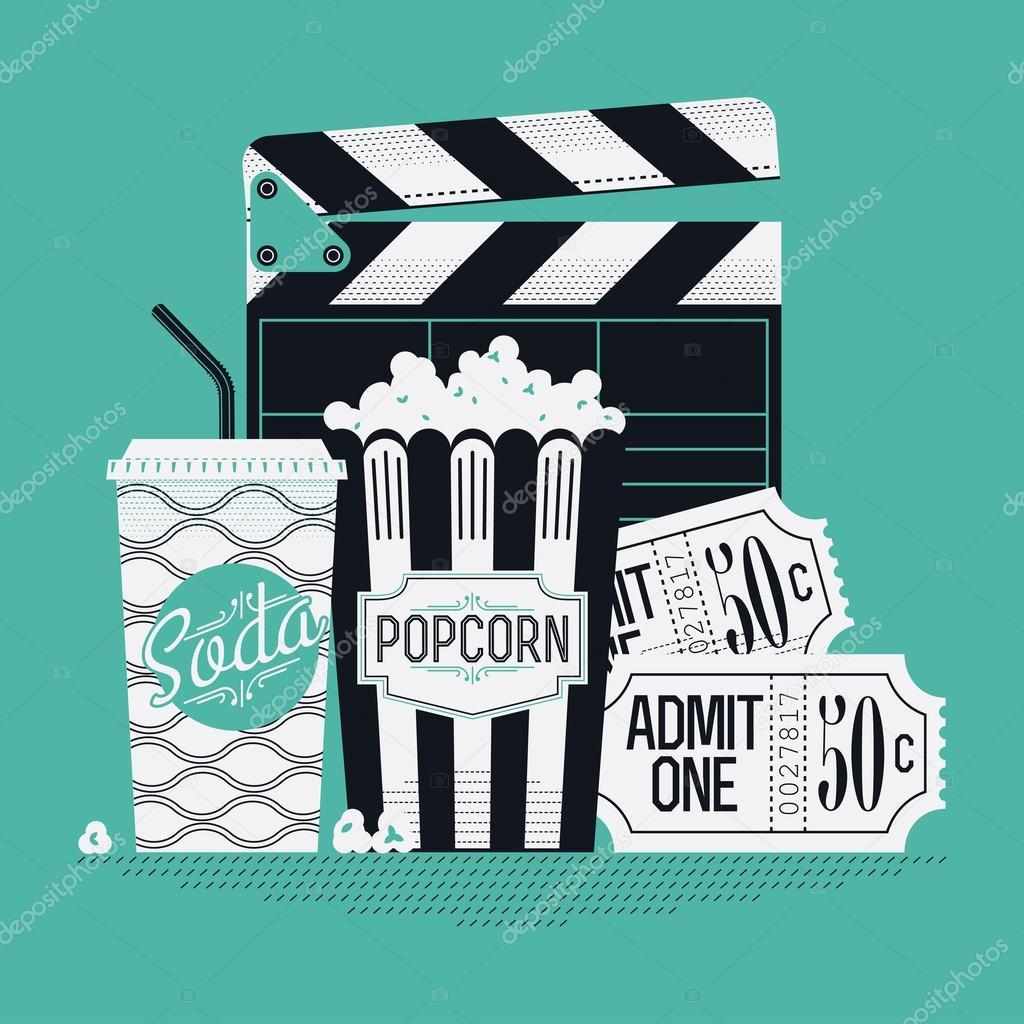 Clapboard, popcorn, cinema theater tickets — Stock Vector © masha ...