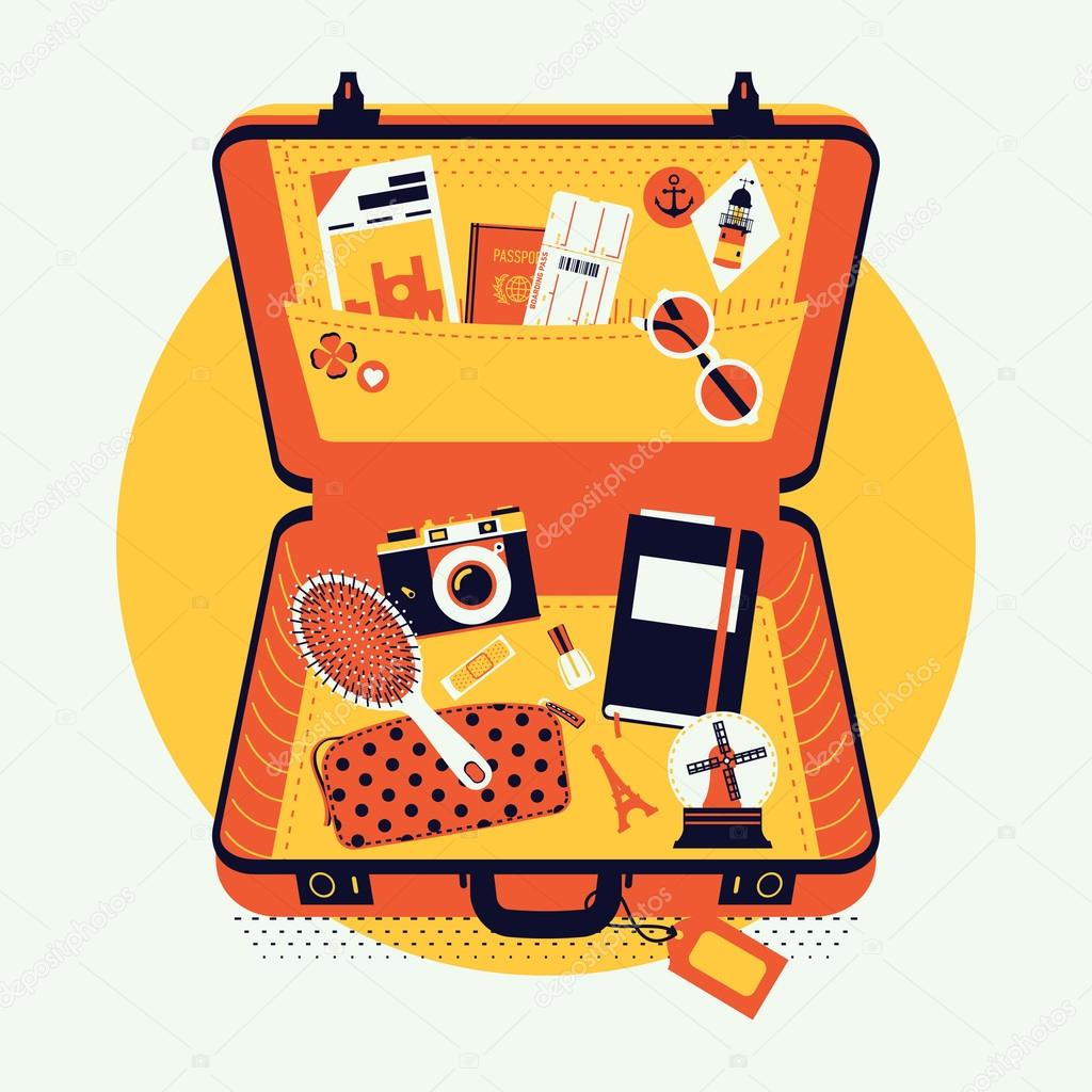luggage suitcase with travel items inside stock vector