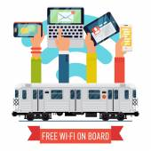 Subway underground train   with wi-fi — Stock Vector