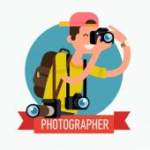 Cool photographer character icon — Stock Vector