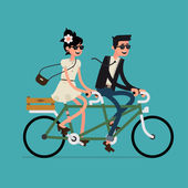 Couple riding tandem bicycle — Stock Vector