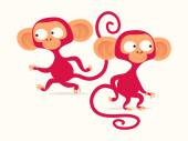 Lovely and funny   monkey characters — Stock Vector