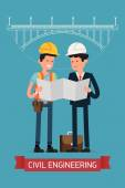 Builders studying building scheme — Stock Vector