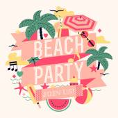 Beautiful beach party design — Stock Vector