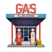 Gas filling station illustration. — Stock Vector