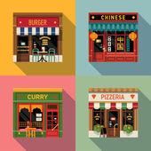 Restaurants facade icons. — Stock Vector