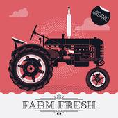 'Farm Fresh' with     farm field tractor. — Stock Vector