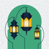 Ramadan lanterns on Arabic doorway — Stock Vector