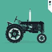 Retro farm field tractor. — Stock Vector