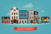 Old town village — Stock Vector