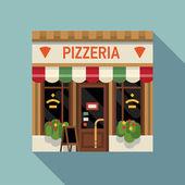 Pizzeria Italian restaurant facade — Stock Vector