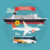 Travel by sea, roads and sky — Vector de stock