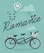 Romance with tandem bicycle — Stock Vector