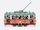 Lovely Retro   tram car — Stock Vector
