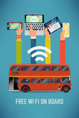 Bus with wi-fi access — 图库矢量图片