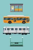 Bus, subway train, bus stop — Stock Vector