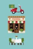 Pizzeria restaurant with delivery service scooter — Stock Vector
