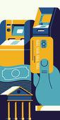 Online banking cash — Stock Vector