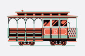 Lovely retro cable car — Stock Vector