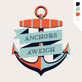 Lovely old anchor label  with ribbon — Stock Vector