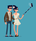 Couple taking photos with mobile — Stock Vector